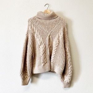 Chunky Oversized Tan Cable Knit Sweater